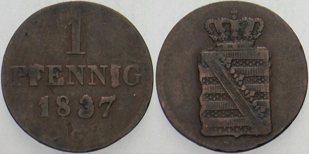 1 Pfennig 1837 G Sachsen Friedrich August II. 1836-1854. Fast sehr schön