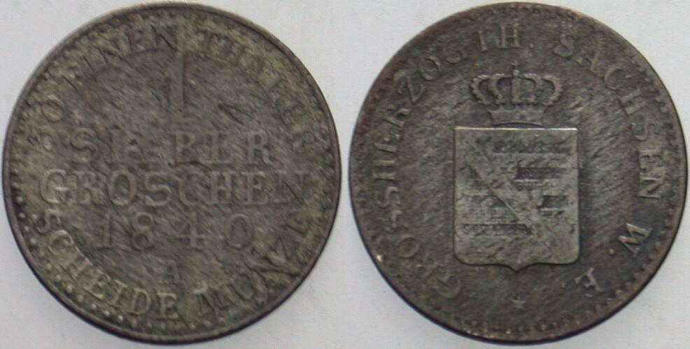 1 Silbergroschen 1840 A Sachsen-Weimar-Eisenach Carl Friedrich 1828-1853. Schön