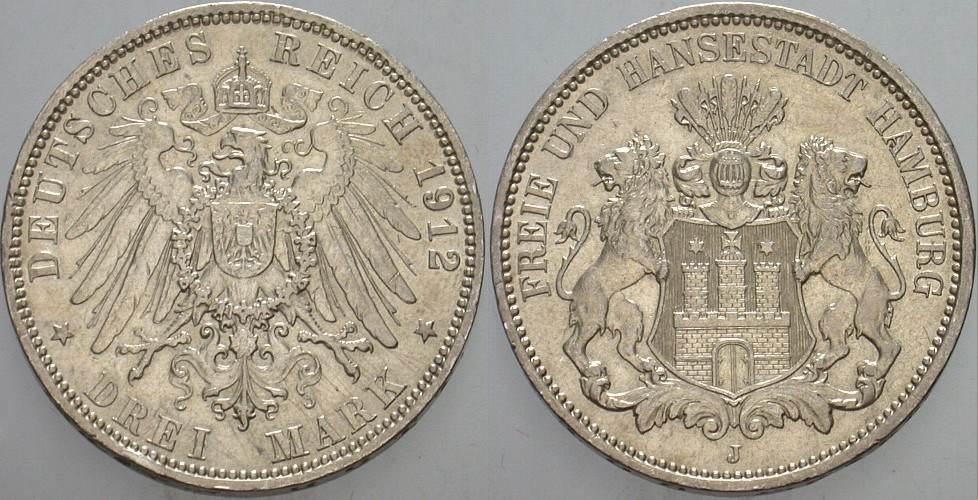 3 Mark 1912 J Hamburg Kl. Randfehler, sehr schön - vorzüglich