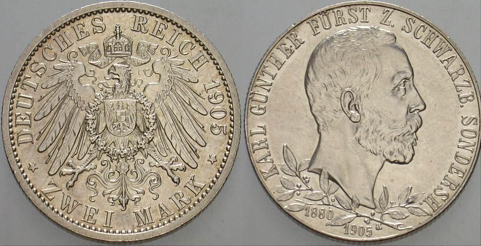 2 Mark 1905 A Schwarzburg-Sondershausen Karl Günther 1880-1909. Vorzüglich