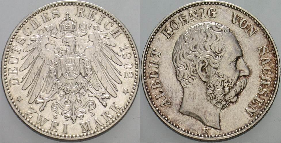 2 Mark 1902 E Sachsen Albert 1873-1902. Patina, sehr schön +