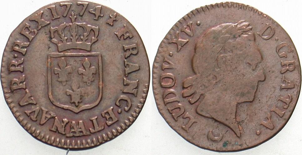 Liard 1774 AA Metz Frankreich Ludwig XV. 1715-1774. Patina, vorzüglich