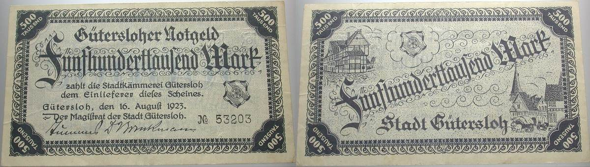 500 000 Mark 1923-08-16 Das Papiernotgeld von Westfalen Gütersloh, Kreis Wiedenbrück Leicht gebraucht