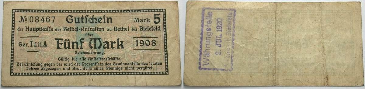 5 Mark 1908 Das Papiernotgeld von Westfalen Hauptkasse der Bethel-Anstalten (Eigenwährung der Anstalten) Gebraucht