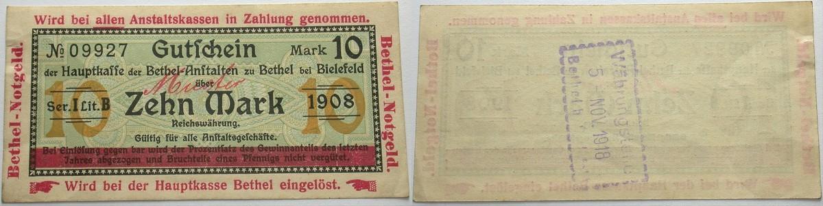 10 Mark 1908 Das Papiernotgeld von Westfalen Hauptkasse der Bethel-Anstalten (Eigenwährung der Anstalten) Leicht gebraucht
