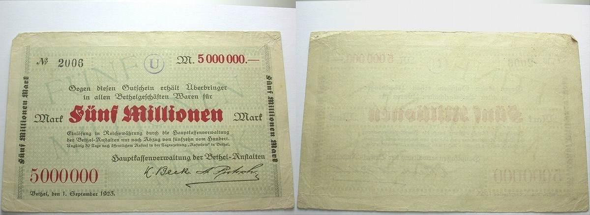 5 Millionen Mark 1.September 1923 Das Papiernotgeld von Westfalen Hauptkassenverwaltung der Bethel-Anstalten Stärker gebraucht