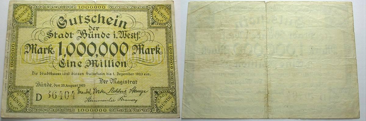 1 Million Mark 25.August 1923 Das Papiernotgeld von Westfalen Stadt Bünde Stärker gebraucht