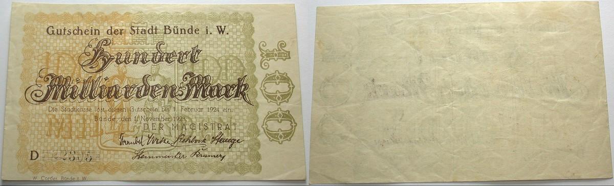 100 Milliarden Mark 1.November 1923 Das Papiernotgeld von Westfalen Stadt Bünde Leicht gebraucht