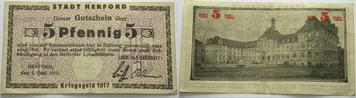5 Pfennig 1.Juni 1917 Das Papiernotgeld von Westfalen Stadt Herford Kassenfrisch