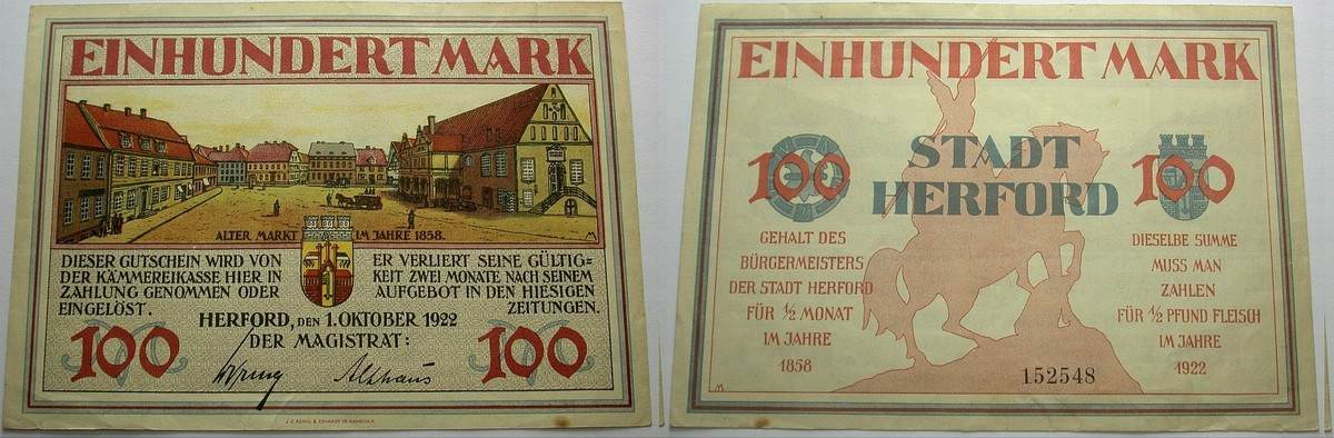 100 Mark 1.Oktober 1922 Das Papiernotgeld von Westfalen Stadt Herford Etwas fleckig, leicht gebraucht