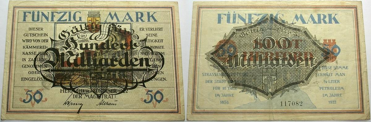 100 Milliarden Mark Überdruck auf 50 Mark o.D. Das Papiernotgeld von Westfalen Stadt Herford Gebraucht
