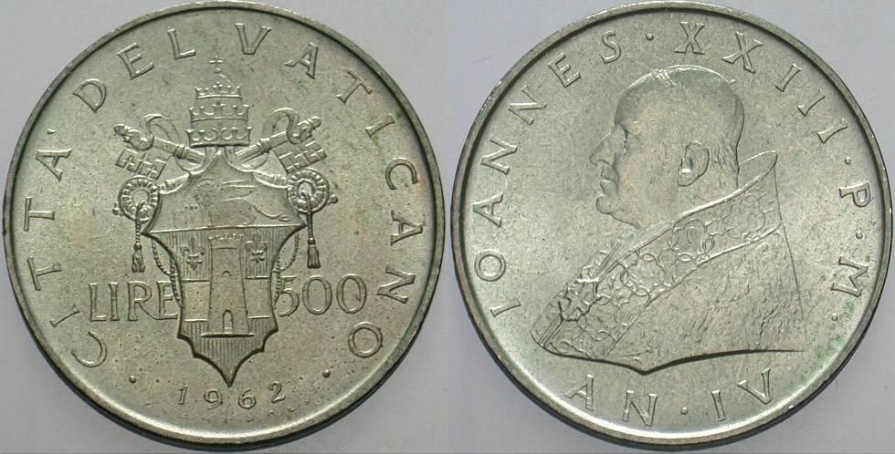 500 Lire 1962 Italien-Kirchenstaat Johannes XXIII. 1958-1963. Patina, vorzüglich - Stempelglanz