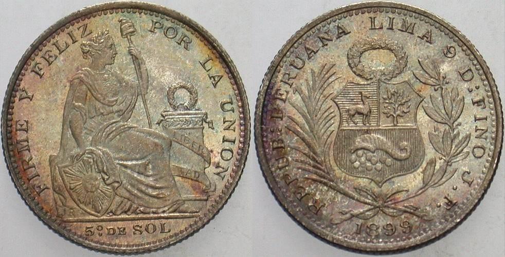 1/5 Sol 1899 Peru Republik Prachtexemplar, Patina Stempelglanz