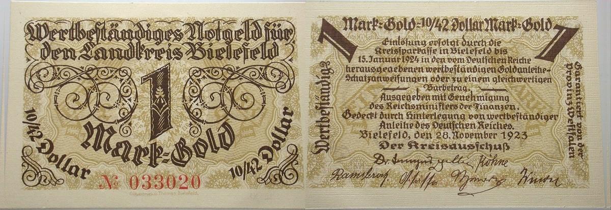 1 Goldmark 28.November 1923 Das Papiernotgeld von Westfalen LANDKREIS BIELEFELD Kassenfrisch
