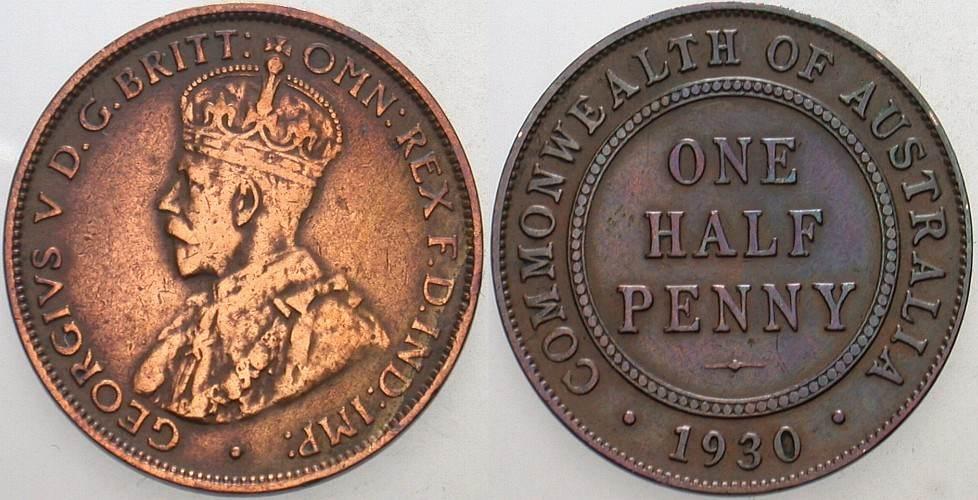 1/2 Penny 1930 Australien Georg V. 1910-1936. Sehr schön / sehr schön-vorzüglich