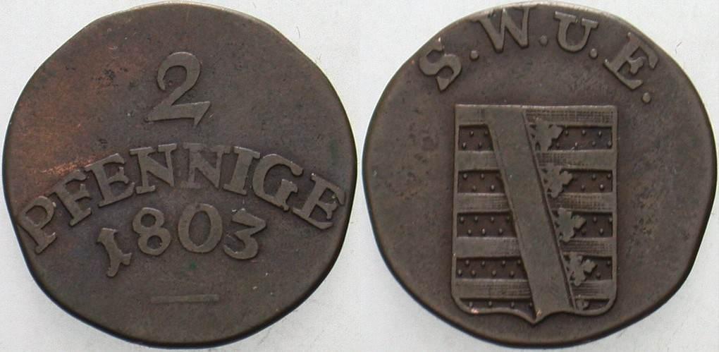 2 Pfennige 1803 Sachsen-Weimar-Eisenach Carl August 1775-1828. Fast sehr schön