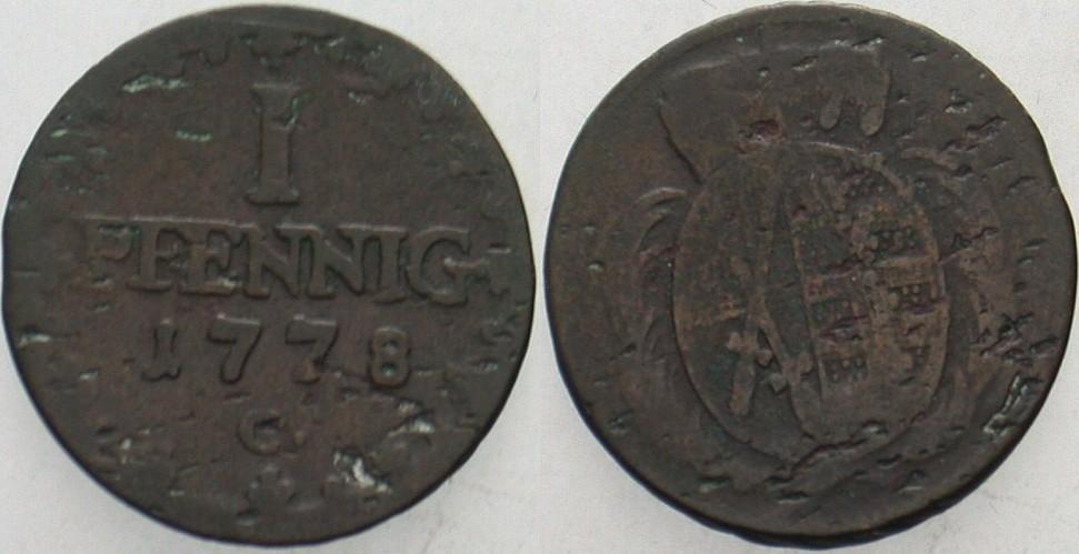 Pfennig 1778 C - Leipzig Sachsen-Albertinische Linie Friedrich August III. 1763-1806. Schön - sehr schön