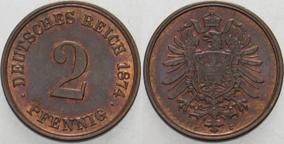 2 Pfennig 1874 C Kleinmünzen Patina, vorzüglich - Stempelglanz