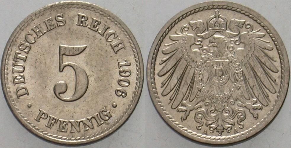 5 Pfennig 1906 A Kleinmünzen Vorzüglich - Stempelglanz