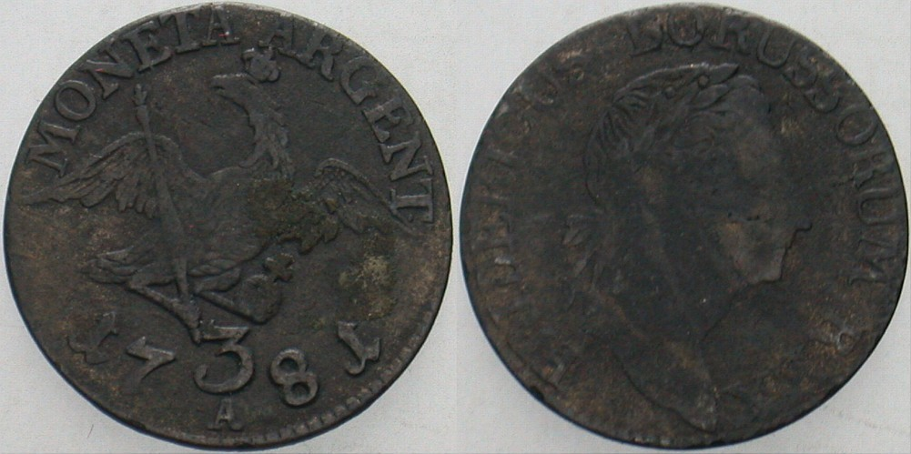 3 Gröscher 1781 A Brandenburg-Preußen Friedrich II. 1740-1786. Schön - sehr schön