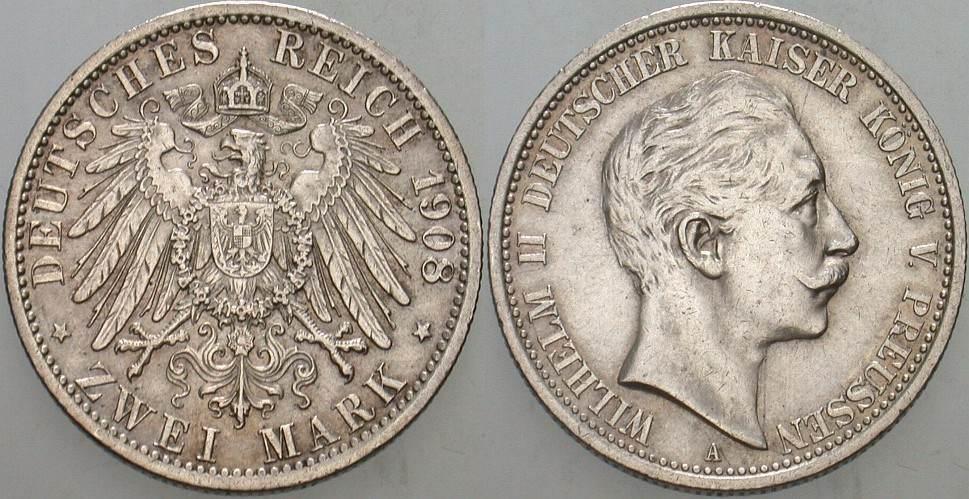 2 Mark 1908 A Preußen Wilhelm II. 1888-1918. Vorzüglich