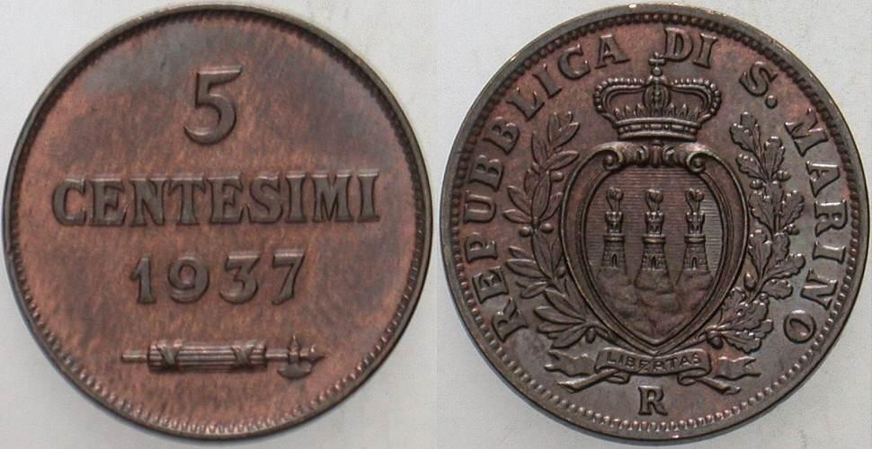 5 Centesimi 1937 R San Marino Patina, vorzüglich