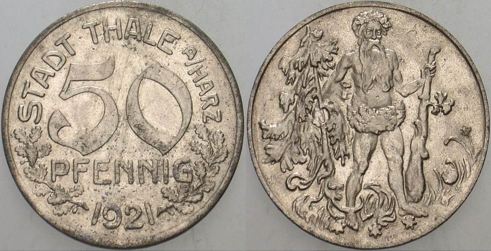 50 Pfennig 1921 Thale (Harz) Stadt Thale Sehr schön - vorzüglich