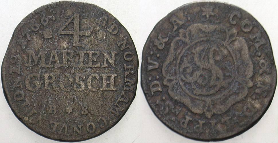 4 Mariengroschen 1766 BS Detmold Lippe-Detmold, Simon August, 1734-1782. Schön