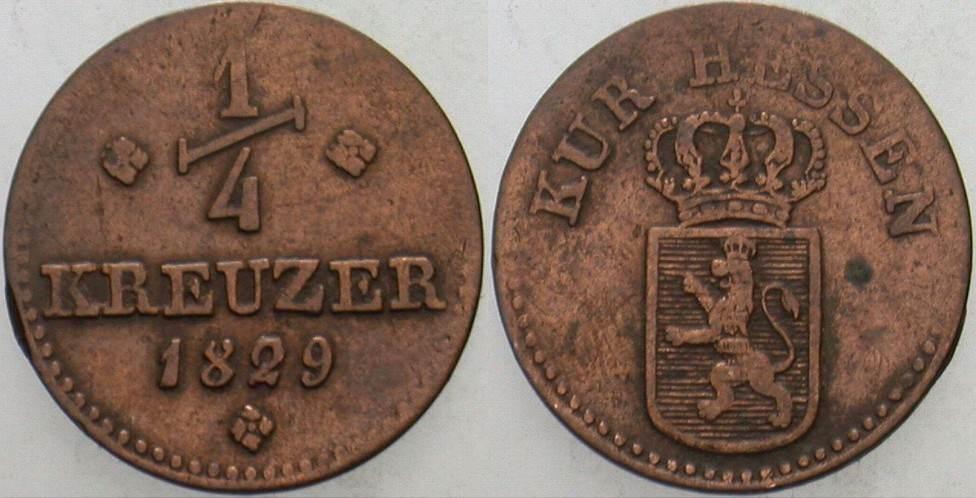 1/4 Kreuzer 1829 Hessen-Kassel Wilhelm II. 1821-1847 Sehr schön