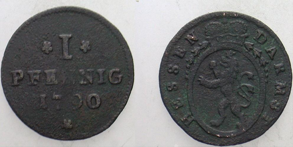 1 Pfennig 1790 Hessen-Darmstadt Ludwig IX. 1768-1790. Fundbelag, sonst sehr schön