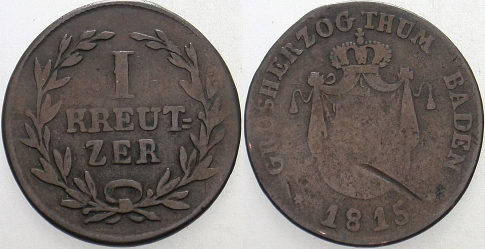 1 Kreuzer 1815 Baden Carl Ludwig Friedrich 1811-1818. Kratzer, schön