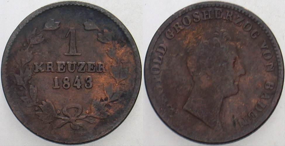 1 Kreuzer 1843 Baden Leopold 1830-1852. Fast sehr schön