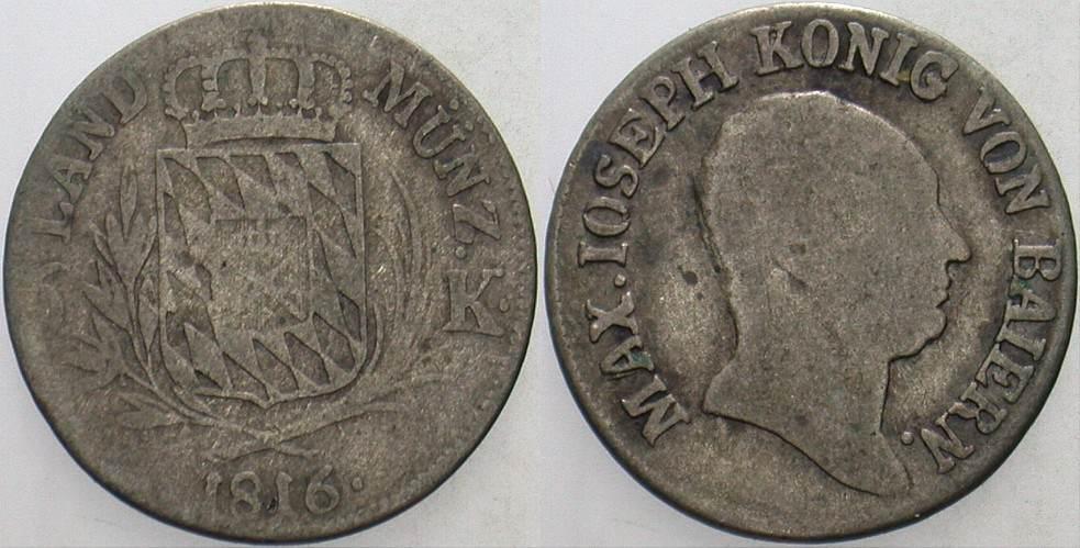 6 Kreuzer 1816 Bayern Maximilian Joseph 1799-1825, ab 1806 König. Schön - sehr schön