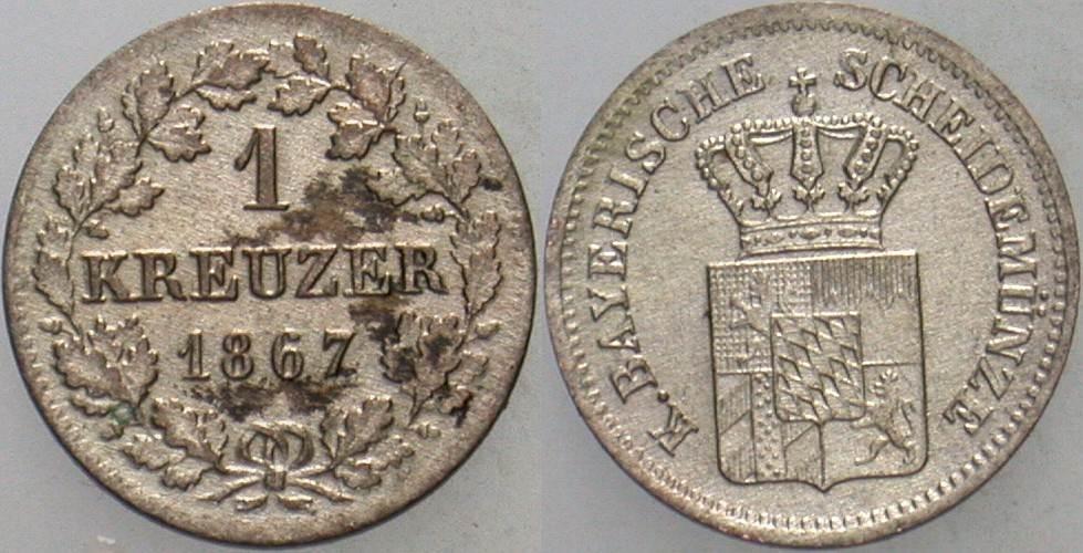 1 Kreuzer 1867 Bayern Ludwig II. 1864-1886. Fleckig, vorzüglich