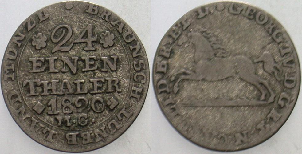 1/24 Taler 1820 MC Braunschweig Karl 1815-1830. Sehr schön