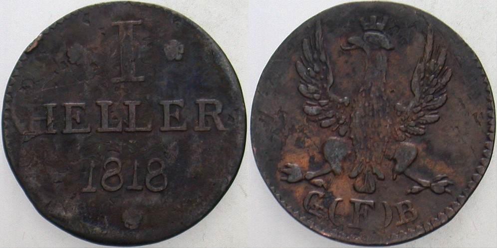 1 Heller 1818 Frankfurt Fleckig, sehr schön