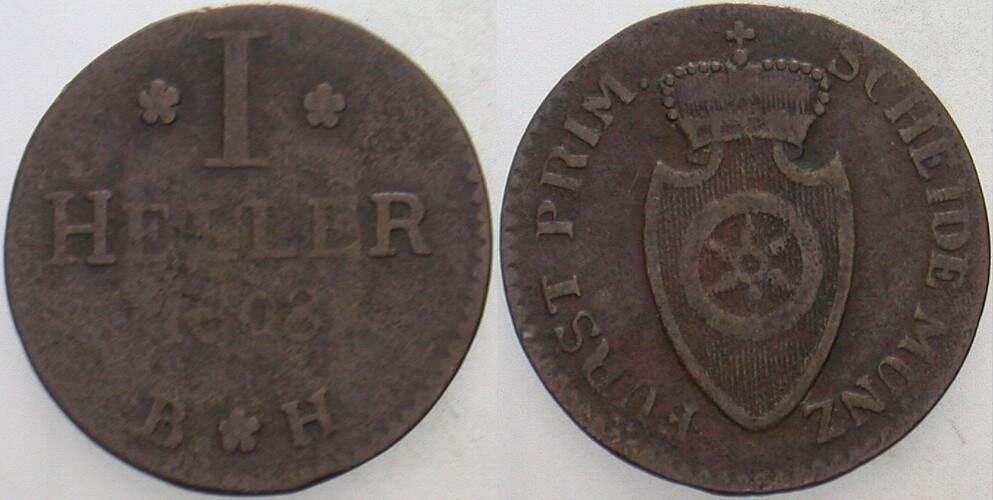 1 Heller 1808 Fürstprimatische Staaten Fürstprimas Carl Theodor von Dalberg, 1806-1810 Fast sehr schön