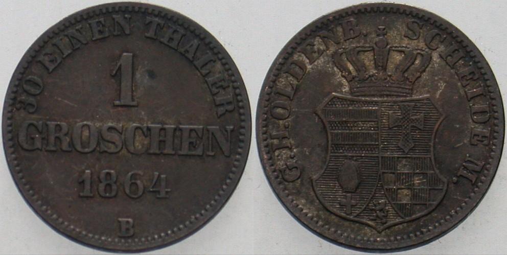 1 Groschen 1864 B Oldenburg Nicolaus Friedrich Peter 1853-1900. Patina, sehr schön +