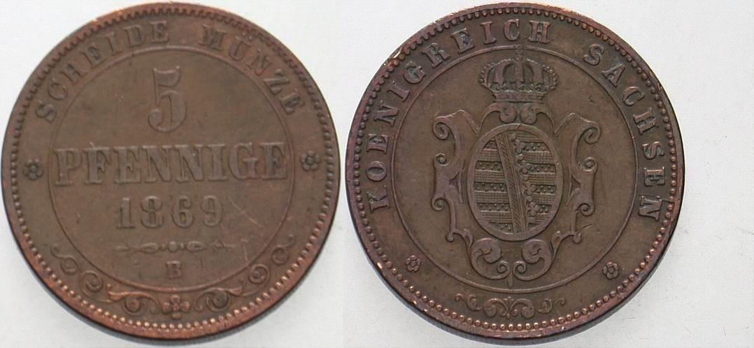 5 Pfennige 1869 B Sachsen Johann 1854-1873. Sehr schön
