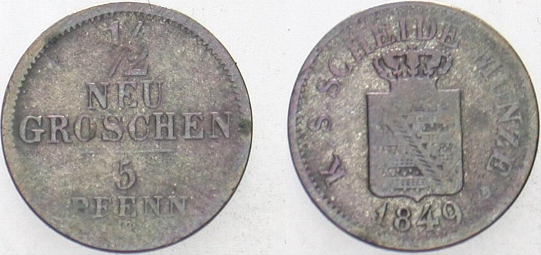 1/2 Neugroschen 1849 F Sachsen Friedrich August II. 1836-1854. Schön - sehr schön