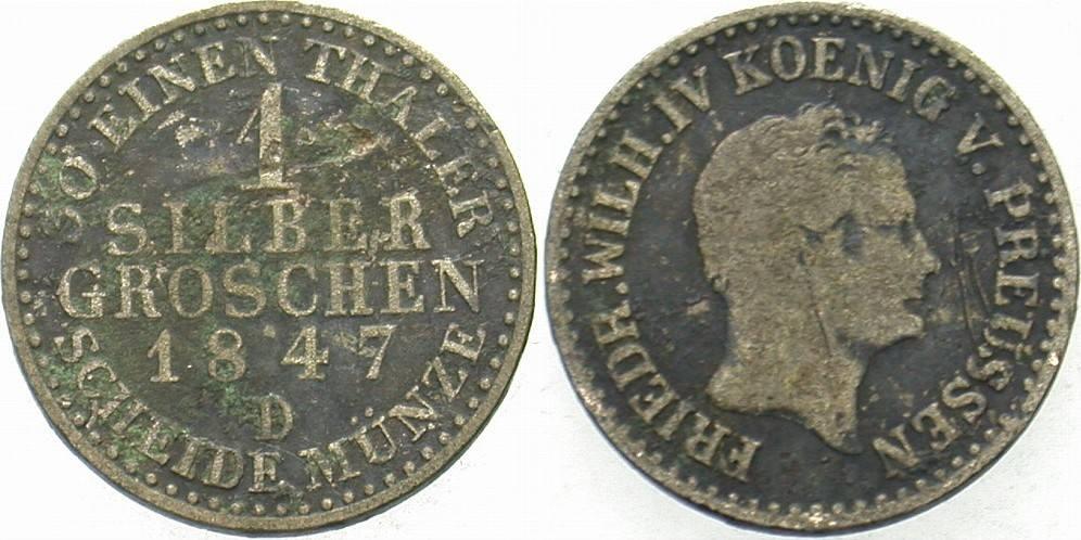 1 Silbergroschen 1847 D Preußen Friedrich Wilhelm IV. 1840-1861 Schön - sehr schön