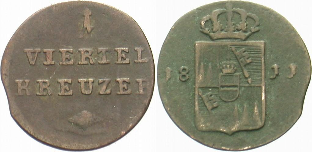 1/4 Kreuzer 1811 Würzburg Ferdinand von Österreich 1806-1814 Kl. Zainende, fast sehr schön