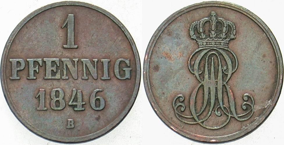 1 Pfennig 1846 B Hannover Ernst August 1837-1851. Sehr schön
