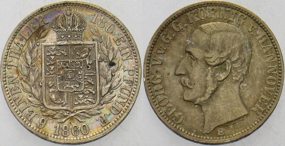 1/6 Taler 1860 B Hannover Georg V. 1851-1866. Patina, fast vorzüglich