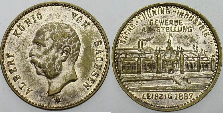 Versilberte Bronzemedaille 1897 Sachsen-Albertinische Linie Albert 1873-1902 Patina, sehr schön - vorzüglich