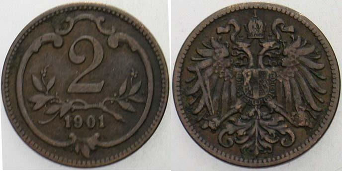 2 Heller 1901 Haus Habsburg Franz Joseph I. 1848-1916 fast sehr schön