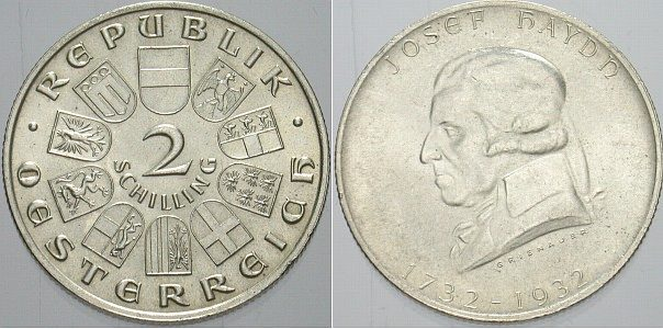 2 Schilling 1932 Österreich Erste Republik 1918-1938 Vorzüglich - Stempelglanz