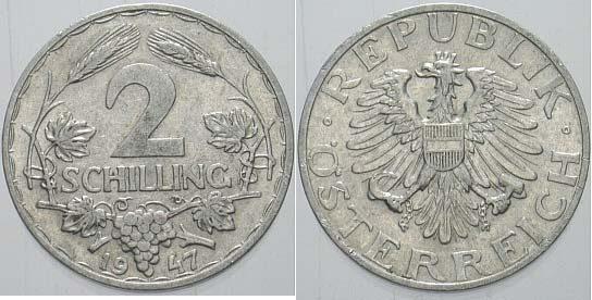 2 Schilling 1947 österreich Zweite Republik Nach 1945 Sehr Schön