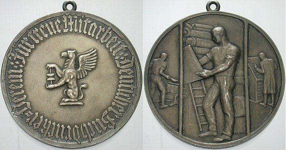 Silbermedaille o.J. Buchdruck Vorzüglich