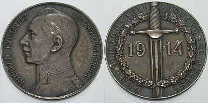 Silbermedaille 1914 Brustbild in Uniform Erster Weltkrieg fast vorzüglich